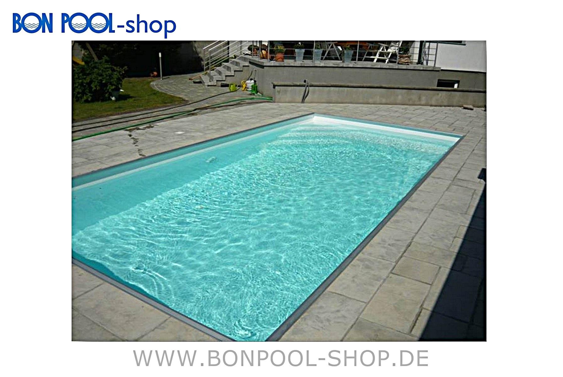 Pp kunststoff rechteckbecken 6 5x3 5x1 5m bon pool for Kunststoff pool rund
