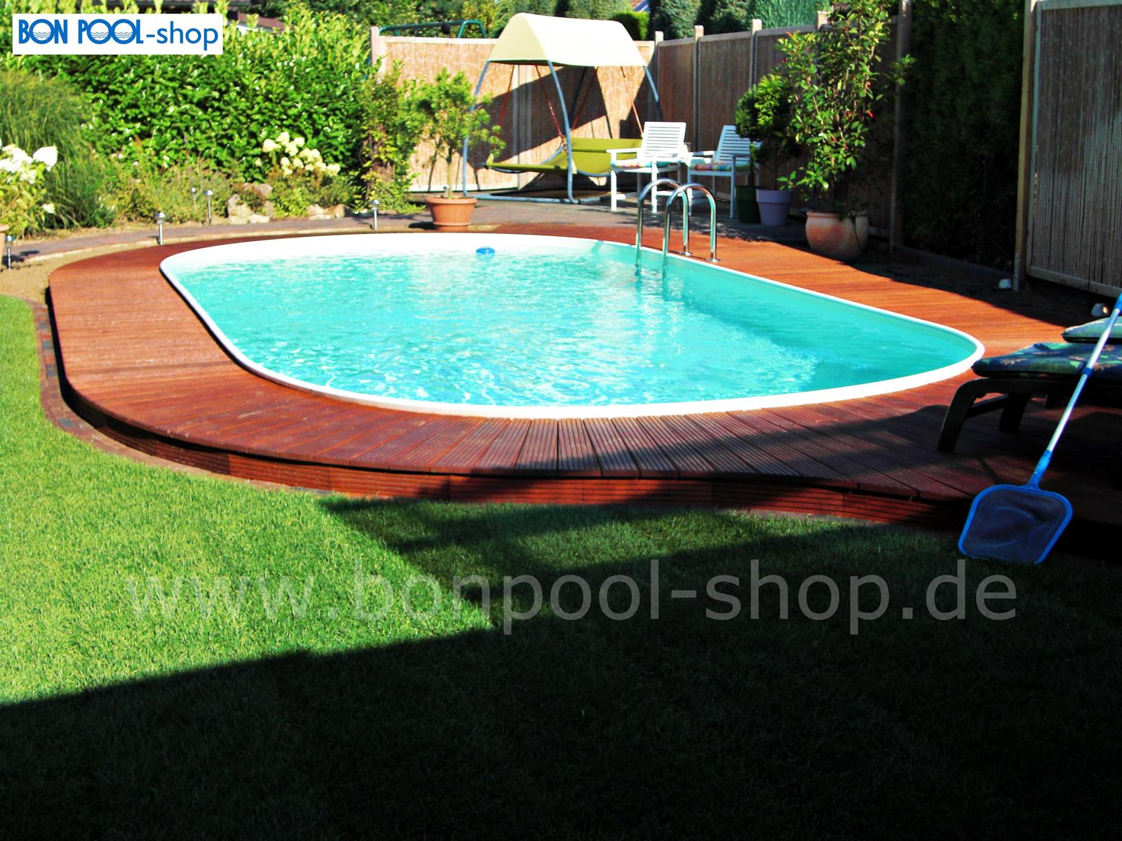 Ovalbecken set 737 x 360 tiefe 150 bon pool for Garten pool tiefe