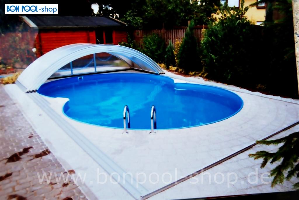 Schwimmbecken achtformbecken set schwimmbad und saunen for Schwimmbecken polyester