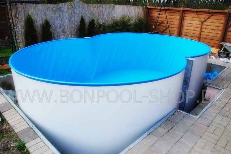 Achtformbecken set l 540 b 350 t 150 bon pool for Stahlwand einbaupool