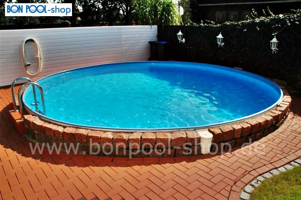 Schwimmbecken ersatzfolie blau rund bise bon pool for Folie pool rund
