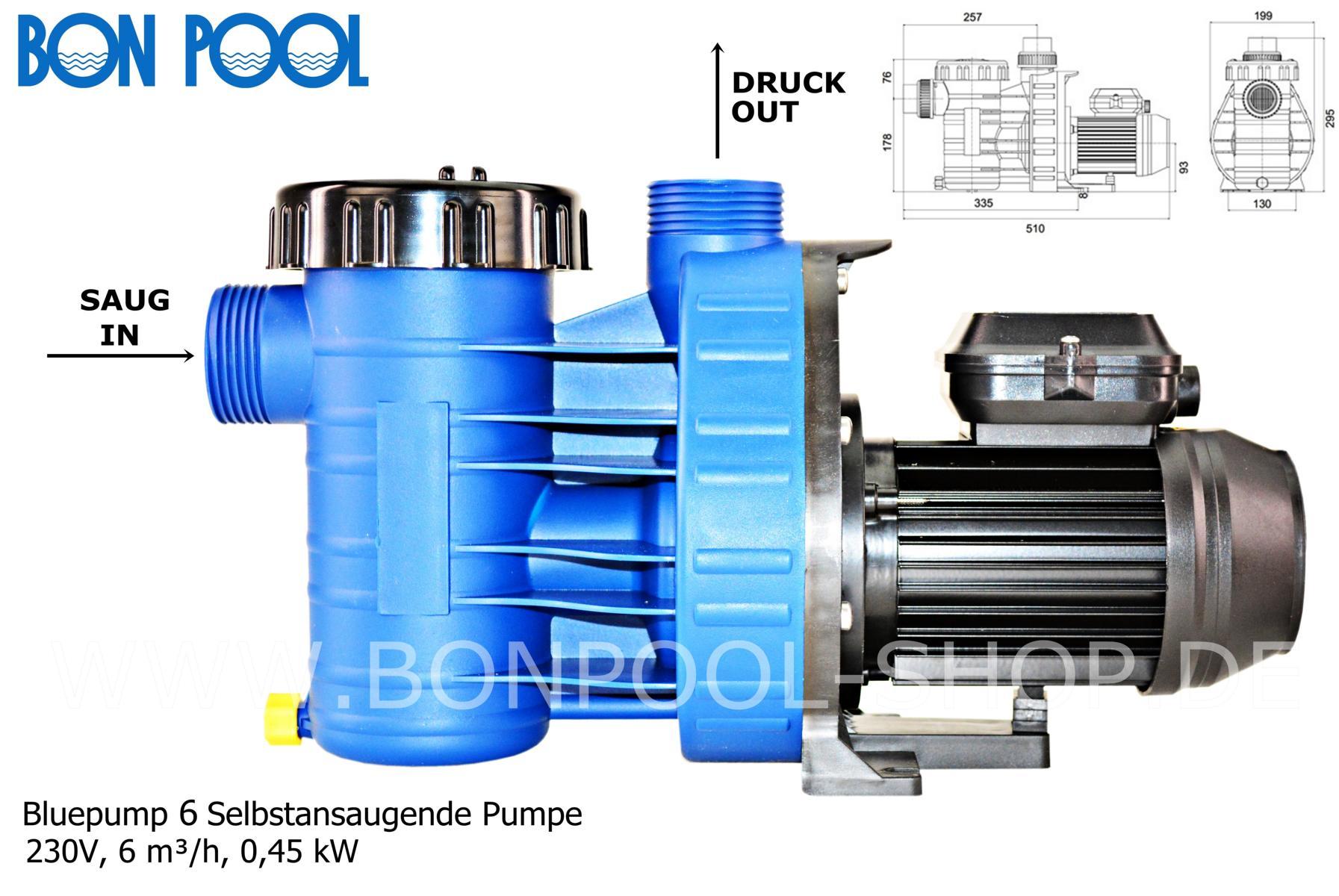 Bluepump 6 selbstansaugende pumpe bon pool for Schwimmbecken aufstellbar