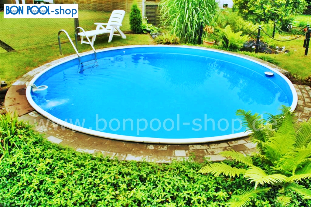 Rundpool 4m t 1 20m mit edelstahlleiter bon pool for Garten pool stahlwandbecken