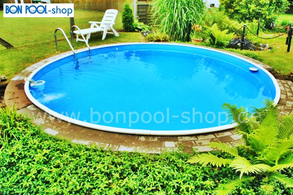 Rundbecken komplett set 500 tiefe 120 bon pool for Aufstellbecken pool
