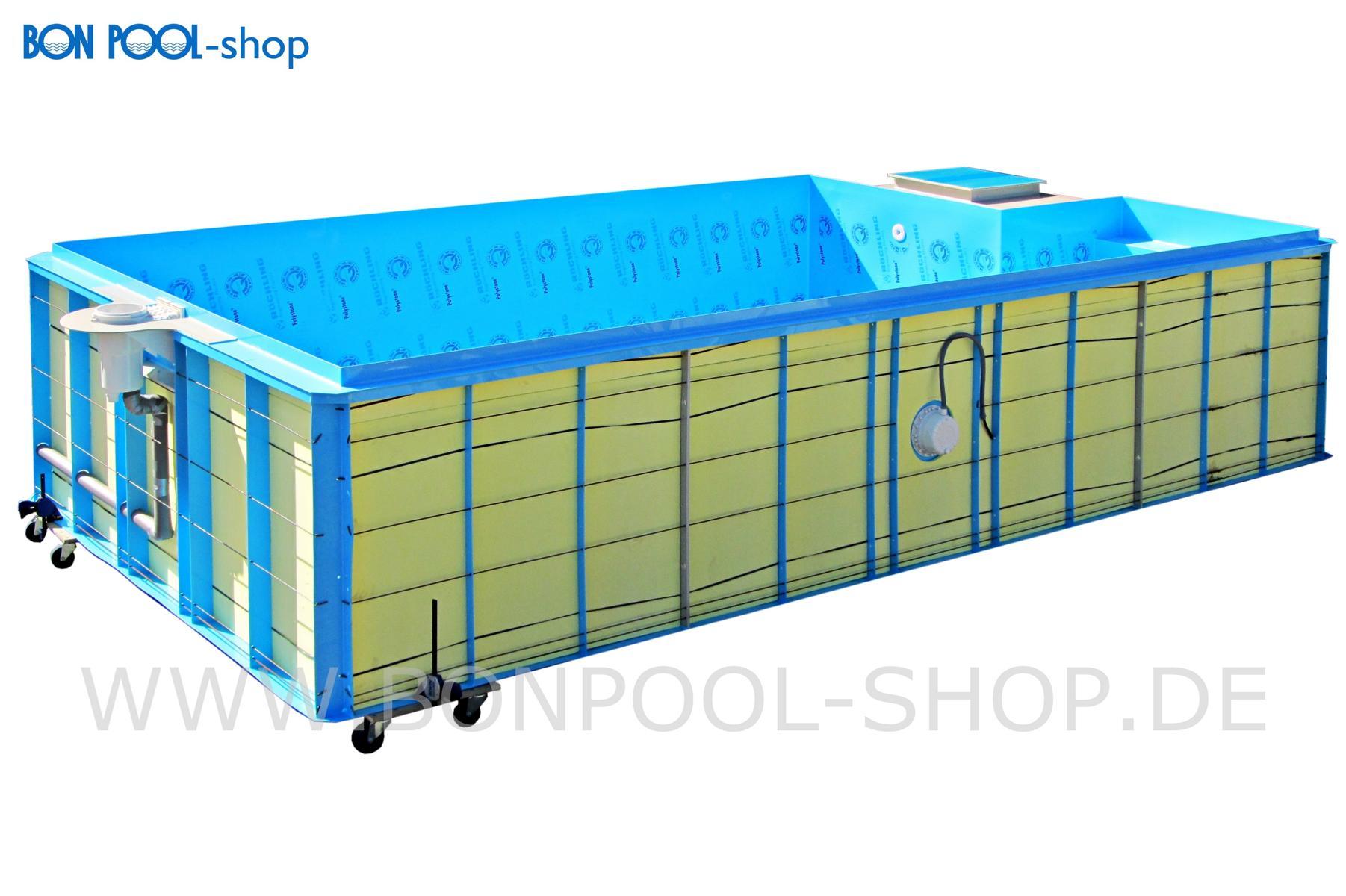 BON POOL INFINITY Pool Set Stahlblau 600x330, Tiefe 150