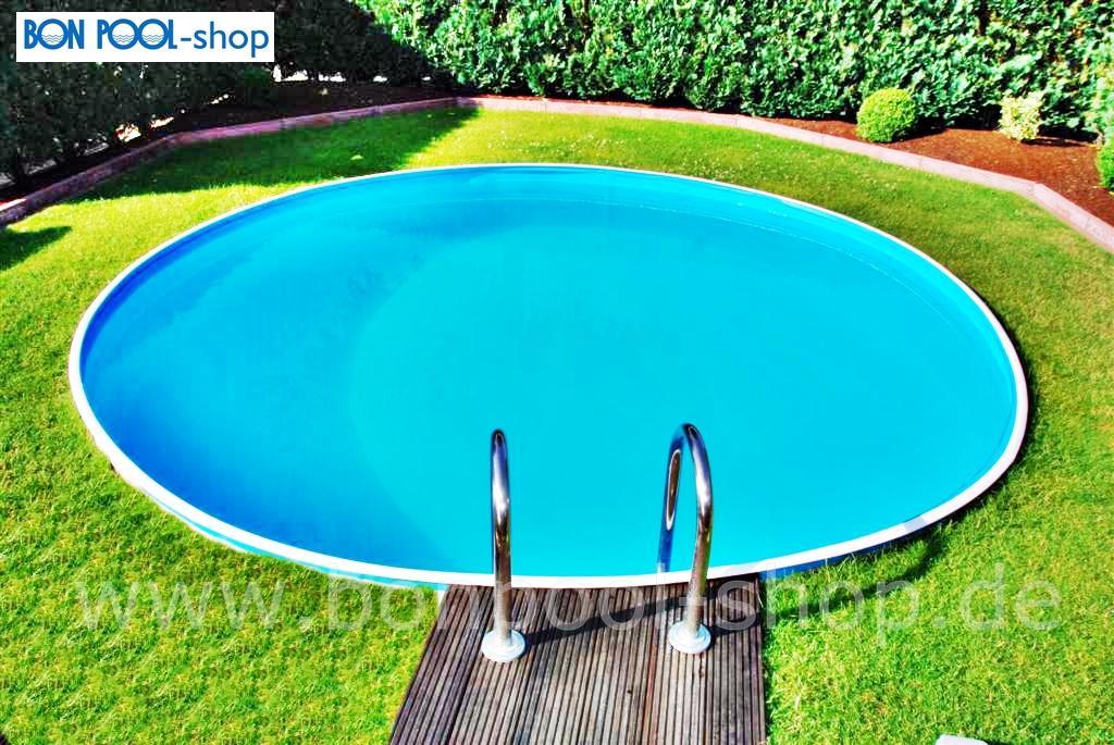 Schwimmbecken ersatzfolie blau rund bise bon pool - Poolumrandung rund ...