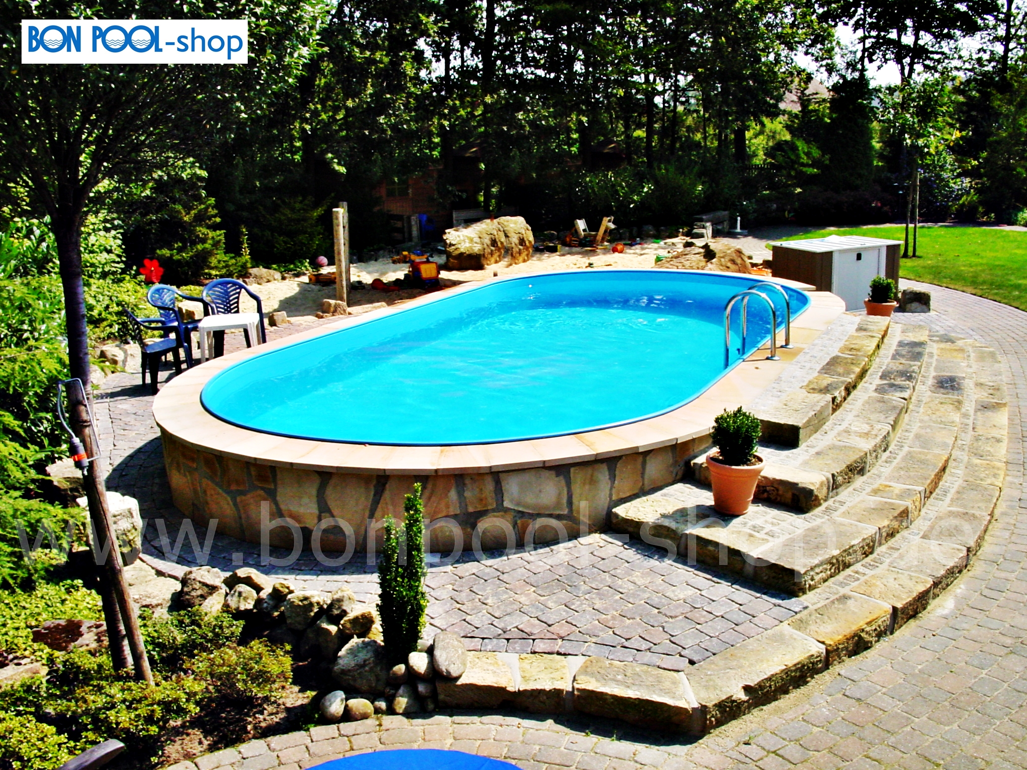 ovalbecken set 490 x 300 tiefe 150 ovalpool bon pool. Black Bedroom Furniture Sets. Home Design Ideas