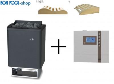 Saunaofen Thermo Tec 7,5kW + ECON D2 Saunasteuergerät incl. 2 Kopfkeile BON POOL
